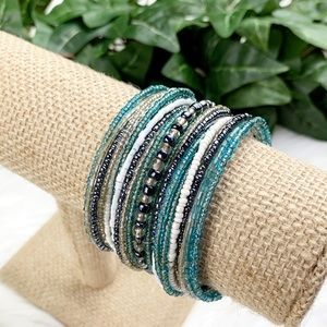 NWOT Teal Blue Layering Beads Wire Cuff Bracelet